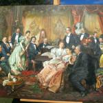 """Der """"Abend bei Johann Strauss"""" als Reproduktion. Das Original hierzu stammt von  Franz von Bayros"""
