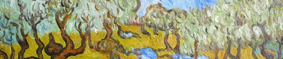 """Unsere Kopie von Van Goghs """"Olivenbäumen mit gelbem Himmel und Sonne"""" (Detail)"""