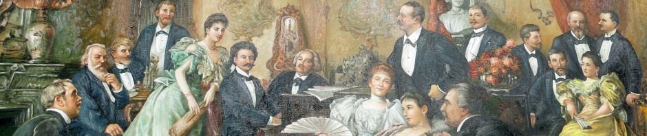 Reproduktion von Ein Abend bei Johann Strauss. Das Original malte Franz von Bayros