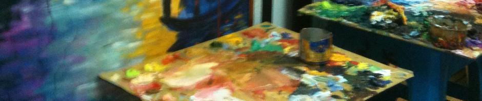 Ölfarbe, Pinsel, Leinwand - daraus entsteht ein Bild