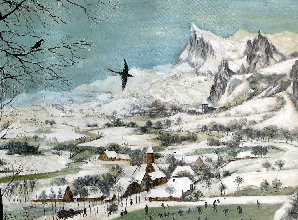 Rechts sind die Berge zu sehen (Ausschnitt der Reproduktion: Pieter Bruegel, Jäger im Schnee)