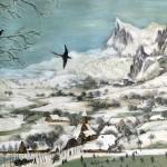 Reproduktion: Pieter Bruegel, Jäger im Schnee. Rechts sind die Berge zu sehen