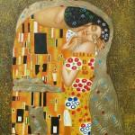 Gustav Klimt, Der Kuss, Reproduktion, Ausschnitt