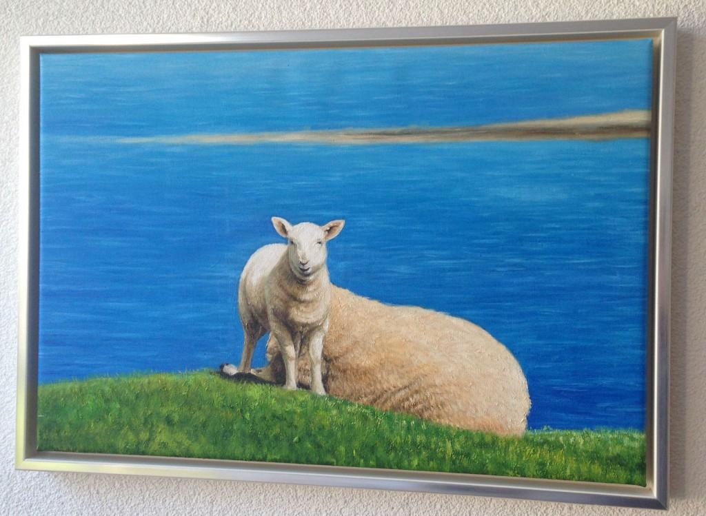 Schottische Schafe: Vorlage dieses Gemäldes war ein Foto