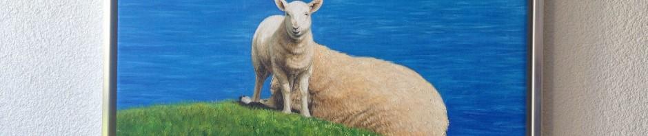 Ölbild: Schafe (gemalt nach einem Foto)