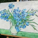 """Auf Keilrahmen: unsere Kopie von Van Goghs """"Vase mit Schwertlilien"""""""