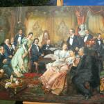 """Franz von Bayros, """"Ein Abend bei Johann"""" Strauss, als Reproduktion"""