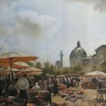"""Unsere Reproduktion von Carl Molls Wiener Gemälde """"Naschmarkt"""" (Öl auf Leinwand)"""